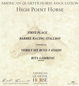 Verily Six Bugs AQHA Stallion Award